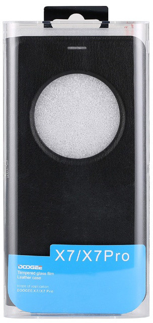 DooGee X7/X7 PRO Flip Case + Screen Protector Glass, černá
