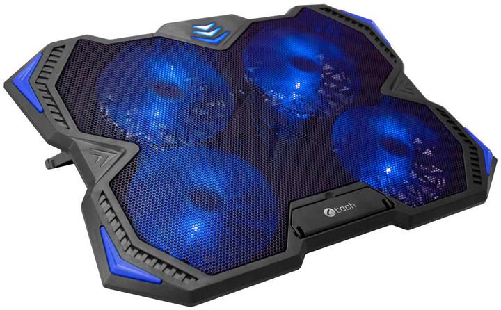 """C-TECH Chladící podložka Zefyros (GCP-01B), casual gaming, 17,3"""", modré podsvícení"""