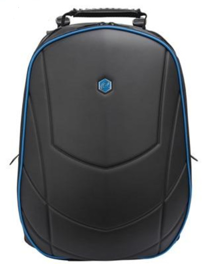 "BESTLIFE batoh 17"" s USB konektorem, černá s modrými prvky"