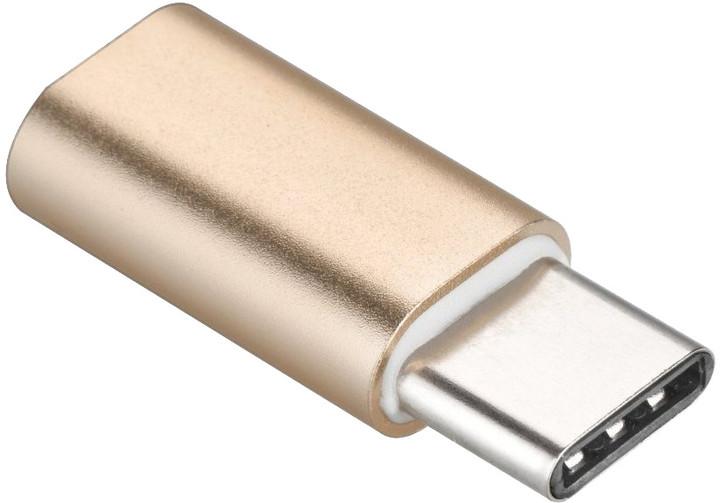 PremiumCord adaptér USB 3.1 konektor C/male - USB 2.0 Micro-B/female, zlatá