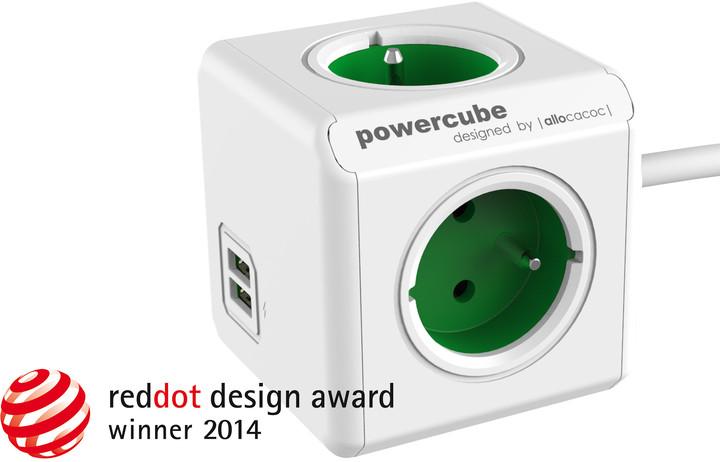 PowerCube EXTENDED USB prodlužovací přívod 1,5m - 4 zásuvka, zelená